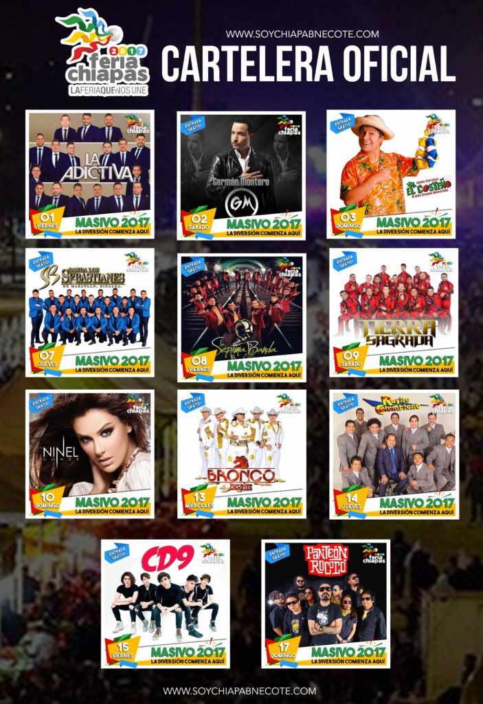 Cartelera Feria Chiapas 2017 Masivos