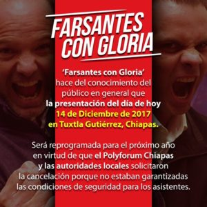 Reprogramación de Farsantes con Gloria en chiapas 2018