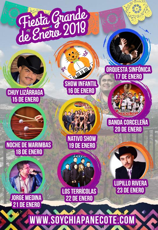Cartelera Fiesta Grande de Enero - Chiapa de Corzo