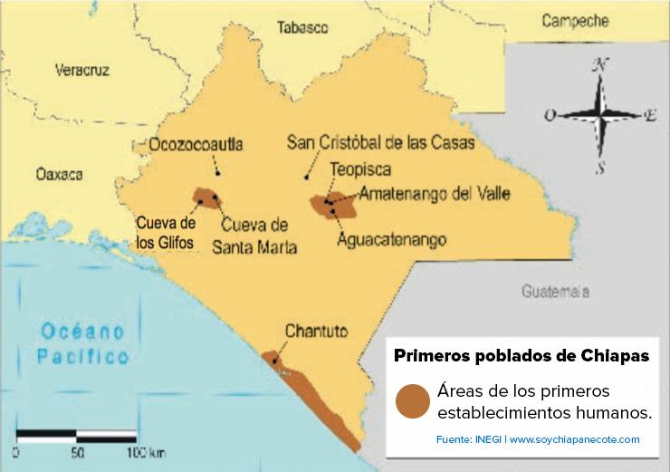 Lugares de los primeros asentamientos en Chiapas