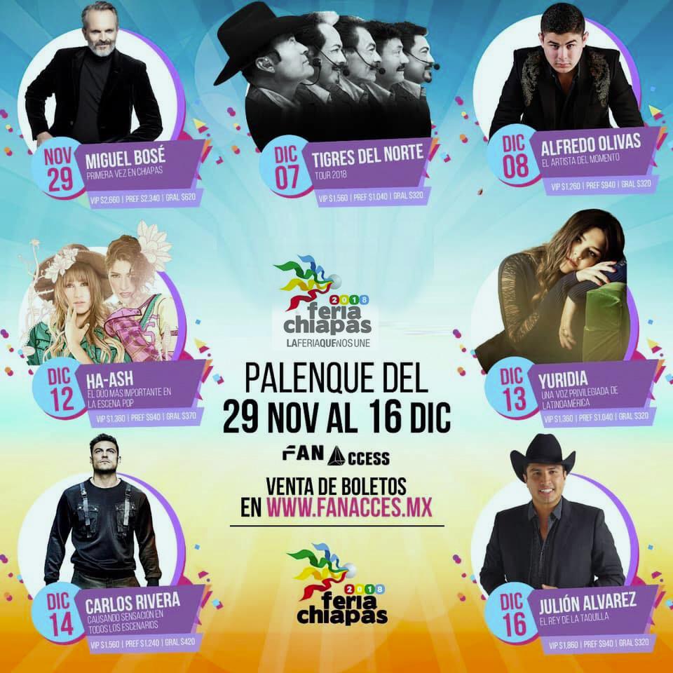 Cartelera del Palenque de la Feria Chiapas 2018