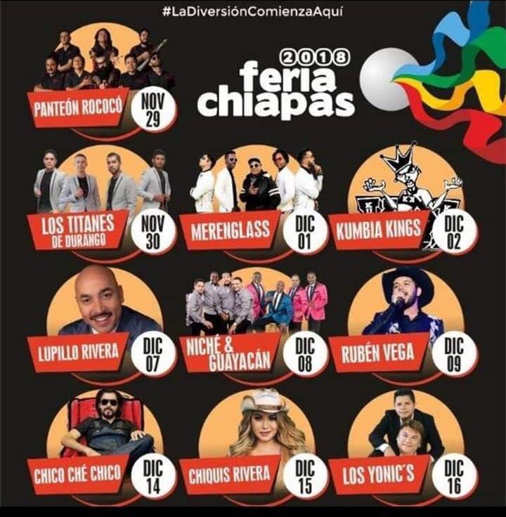 Cartelera Masivos de Feria de Chiapas 2018