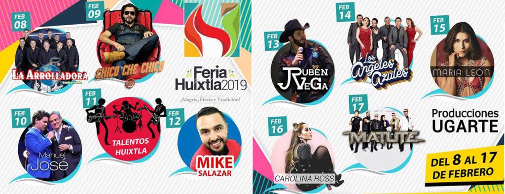 Cartelera de la Feria Huixtla 2019